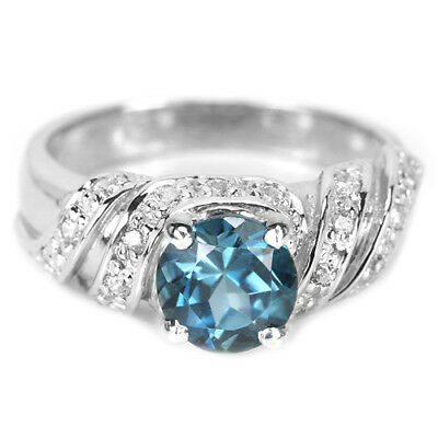 Genuine Aaa London Blue Topaz Round & White Cz Sterling 925 Silver Ring Size 8