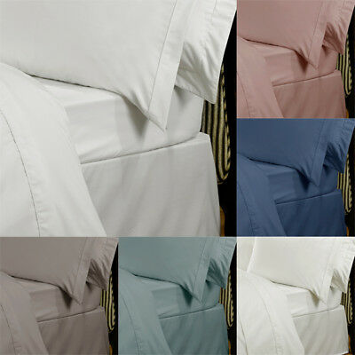 Highams Plain Dyed 100% Egyptian Cotton 230 Thread Count Flat Sheet