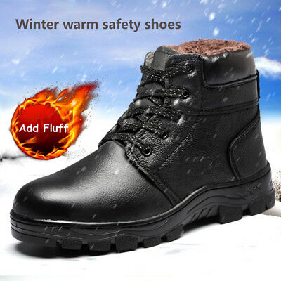 Men's Winter Warm Work Boots Steel Toe Steel Sole Waterproof Velvet Snow Boots