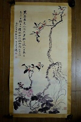 Chinese Collectible handwork Hibiscus Flowers Blooming Beautiful old Painting 1