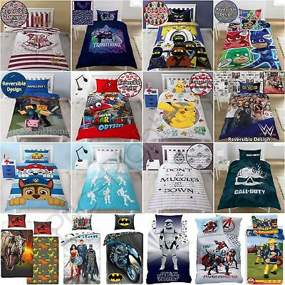 Kids Boys Single Duvet Cover Sets - Pj Masks Paw Patrol Harry Potter & More