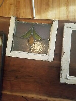 antique english ca. 1920's stained glass window victorian tulip.