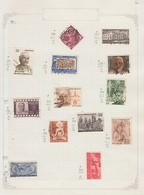 INDIA. 1971 .Collection on Old Album Page stamps removed for shipping..