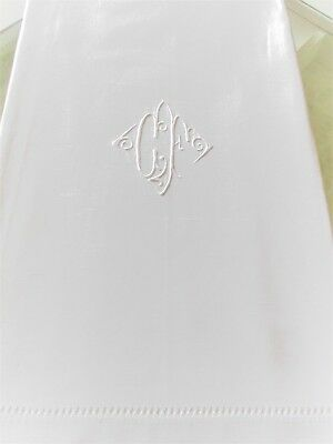 """Beautiful Vintage French White Quality Linen Sheet with Monogram """" C F """""""