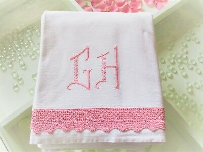 Pretty Vintage French Pure Linen Sheet Monogram GH VIntage Lace & Embroidery