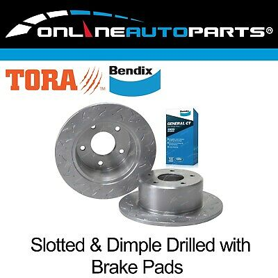 2 Rear Bendix Disc Brake Pads+ Rotors Dimple Drilled & Slotted Commodore 1978-97