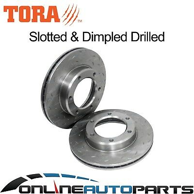 Front Dimpled Slotted Brake Disc Rotors suits Landcruiser 80 Series 90~92 HZJ80