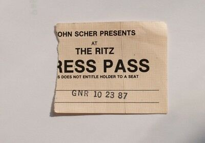 "RARE ! 1987 GNR Guns N Roses RITZ concert ""press pass"" ticket stub Oct. 23 /1987"