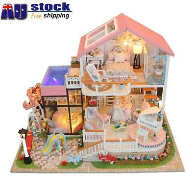 AU DIY Wooden Doll House Miniature Kit Ancient Architecture Dollhouse Sweet Gift