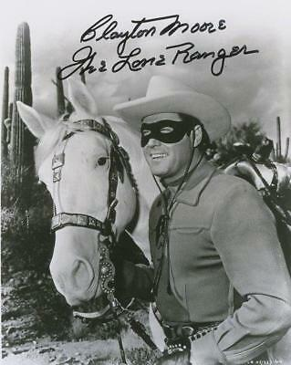 REPRINT - CLAYTON MOORE Lone Ranger Autographed Signed 8 x 10 Photo RP