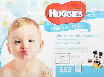 HUGGIES One & Done Scented Baby Wipes, Hypoallergenic, 3 Refill Packs, 648