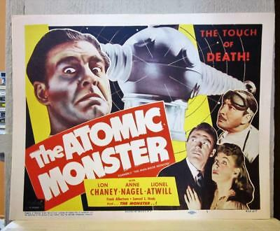 Set of 8 ATOMIC MONSTER (MAN MADE MONSTER) 1953 Rerelease Lobby Cards LON CHANEY