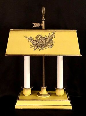 Vintage 15 Yellow Tole Metal 2 Arm 2 Light French Empire Bouillotte