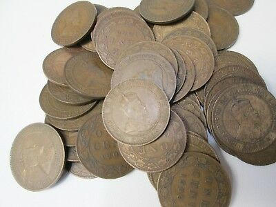 Lot of 50 1909 Canada Large Canadian Cent Coins
