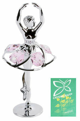 Small Crystocraft Crystal Gift Pink Ballerina Girl Dancing Swarovski Elements