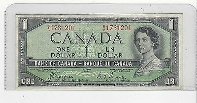 **1954**Canada $1 Note, Coyne/Towers # B/A 1731201  BC-29a  Devil's Face