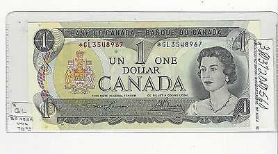 **1973**Canada $1 Note, Lawson/Bouey # *GL 3548967 Replacement, BC-46aA