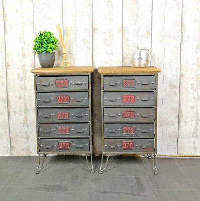 Set Of 2 Storage Units 5 Drawers Metal Office Organiser Chest Cabinet Furniture