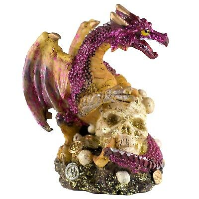 "Mini Pink Glittery Dragon On Skull With Coins Figurine 3.25"" High New!"