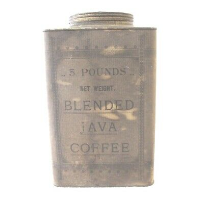 Vintage Coffee Tin Can True and Co Portland Maine Blended Java Five Pounds Empty