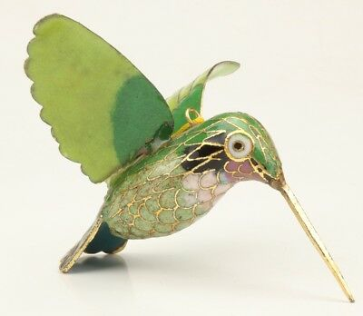 Green Cloisonne Hand-Carved Hummingbird Statue Realistic Pendant Gift Good Luck