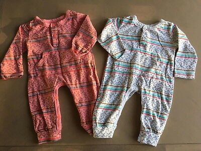 3-6 Month Aztec Romper Sleepsuit Outfit Bundle White Pink/Red