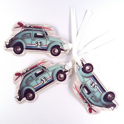 3 x Luxury Gift Tag ~ VW Beetle with surfboard