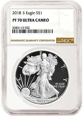 2018 S 1oz Silver Eagle Proof NGC PF70 Ultra Cameo - Brown Label