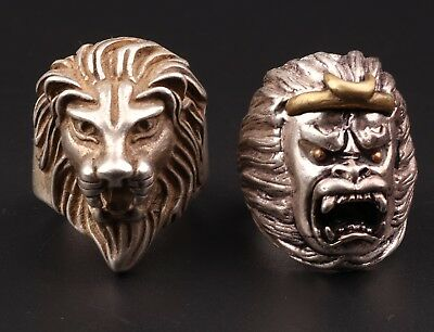2 Hand-Carved Tibetan Silver Lion Cross Monkey Statue Ring Gift Old Collection