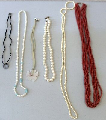 Lot of Vintage to New Beaded Necklaces--Estate Jewelry--Low Bid and Nice Beads!!
