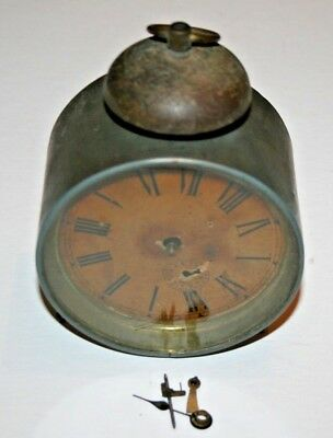 Antique Vintage Solid Brass Round Alarm Clock Workings Case Repair Restore Clock