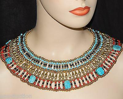 Handmade Pharaoh's Cleopatra Necklace With 7 Scarabs -Halloween Unisex