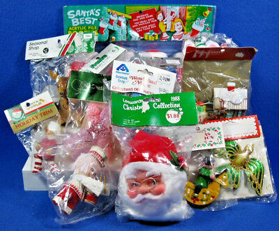 Vintage Lot Of 14 NOS Plastic Christmas Collectibles & Stockings Sealed Packages