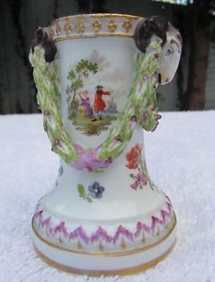 Exquisite Antique 18thC Meissen Miniature Spill Vase - Rams Heads and Swags