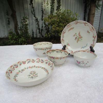 5 no. ANTIQUE 18thC CHINESE QIANLONG FAMILLE ROSE BOWLS / DISHES CIRCA 1750