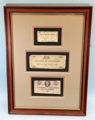 Framed Antique Fractional Currency Civil War Banknotes