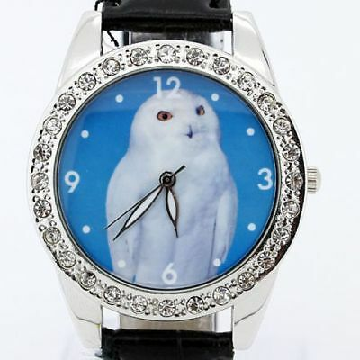 New Round White Owl  Black Leather Quartz Wristwatch L19H