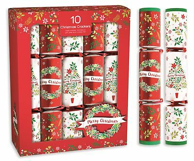 "10 x 12"" Contemporary Red & White Merry Christmas Crackers Gifts Festive Party"