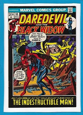 """Daredevil And The Black Widow #93_Nov 1972_Vf Minus_""""the Indestructible Man""""!"""