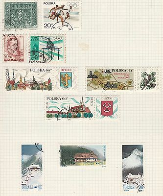 POLAND COLLECTION Olympics, Landscapes, etc on Old Book Pages, As Per Scan #