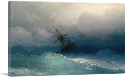 ARTCANVAS Ship in the Stormy Sea 1858 Canvas Art Print by Ivan Aivazovsky