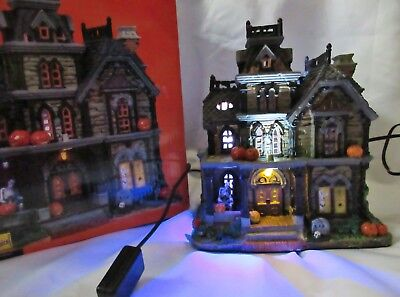Lemax Spooky Town DREADFUL MANOR Lighted haunted house building sound strobe