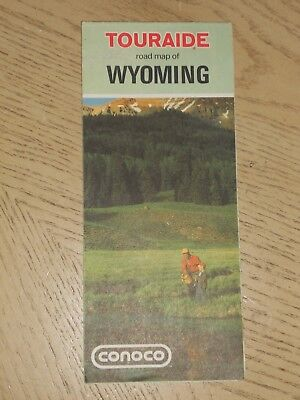 1972 Conoco Oil Gas Wyoming State Highway Road Map Touraide Attraction Guide WY
