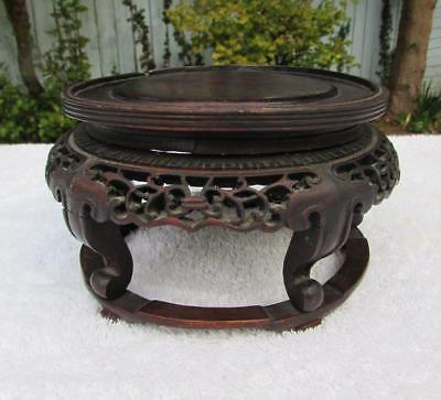 Fine Antique Chinese 19thC Carved Hardwood Stand for Bowl / Vase