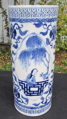 SUPERB ANTIQUE 19thC CHINESE BLUE & WHITE VASE KANGXI MARK
