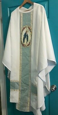Gorgeous Catholic Priests White & Blue Brocade Chasuble & Stole W/ Virgin Mary