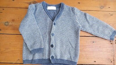 Boys Little White Company blue textured knit cardigan age 12-18 months - VGC