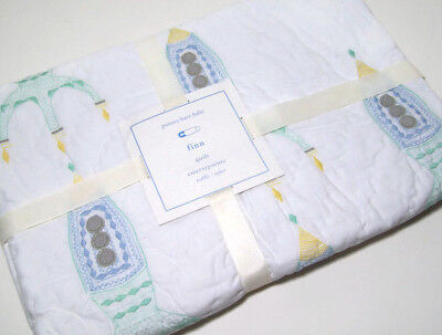 Pottery Barn Kids Embroidered Finn Space Rockets Baby Toddler Crib Quilt New