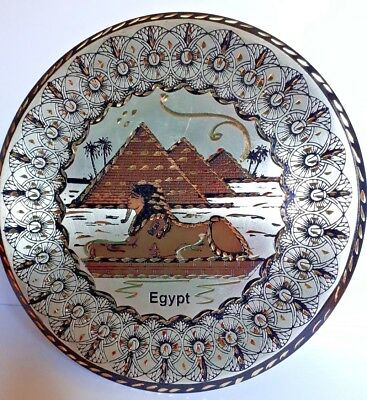 Handmade pure copper wall décor round plate with pharaonic traditional design