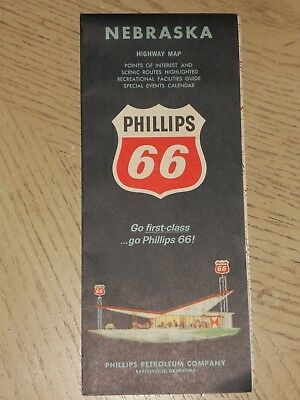 VINTAGE 1964 Phillips 66 Oil Gas Nebraska State Highway Road Map Scenic Routes